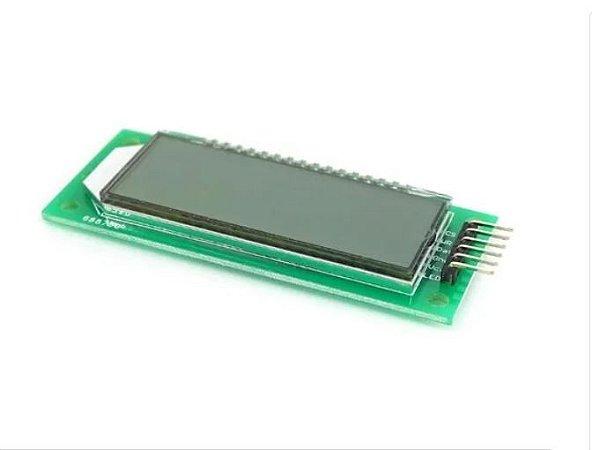 """DISPLAY 7 SEGMENTOS 6 DÍGITOS LCD 2.4"""" HT1621 C/ FUNDO VERDE"""