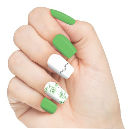 Adesivo de Unha Ramos Flores Verdes 01 com 6un
