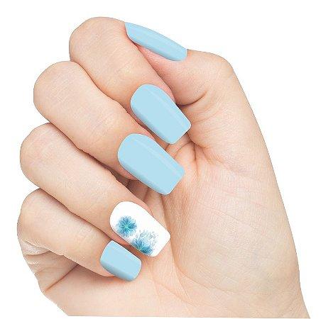 Adesivo de Unha Flores Blue Flower 04 com 6un