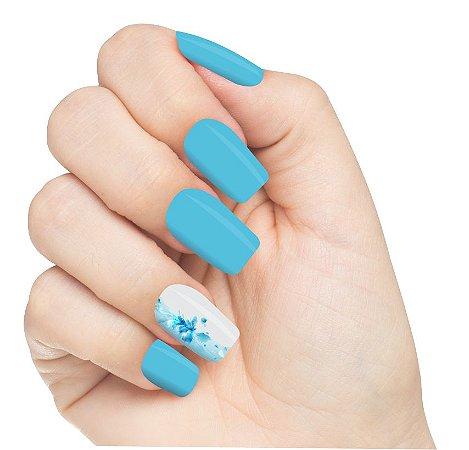 Adesivo de Unha Flores Azul Transparente 11 com 6un