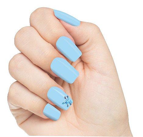 Adesivo de Unha Flores Azul Menor 16 com 6un