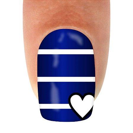 Adesivo de Unha Coração Listrado Azul