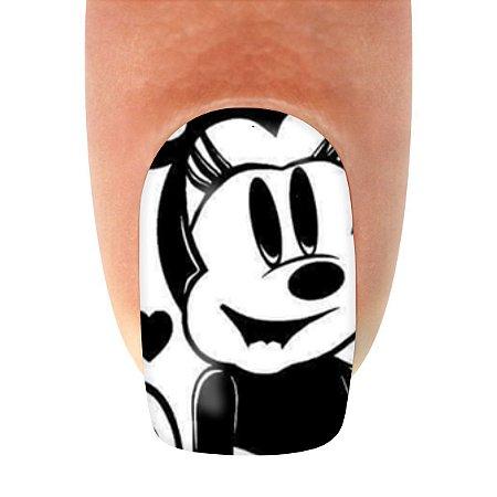 Adesivo de Unha Personagens Minnie e Mickey Preto e Branco