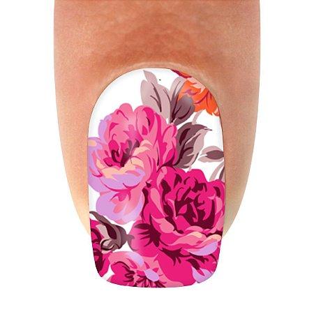 Adesivo de Unha  Flor Pink e Lilás com 12un