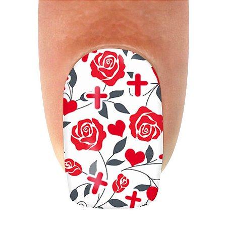Adesivo de Unha Profissões Enfermeira com Rosas
