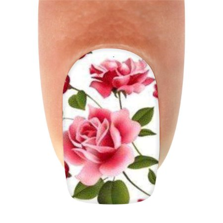 Adesivo de Unha Flores Rosa e Francesinha com Laço Preto com 12un