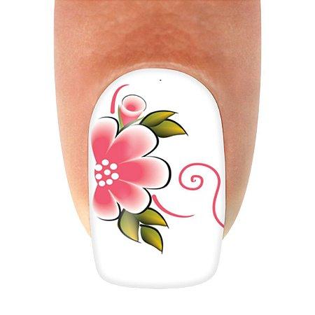 Adesivo de Unha  Flor Rosa e Linhas Brancas