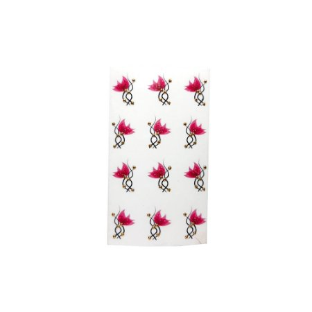 Adesivo de Unha Impressas com Joia Flor Pink