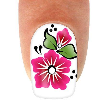 Adesivo de Unha Flor Rosa com Detalhe e Flores Pretas