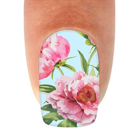 Adesivo de Unha Flores Rosa 3 em 1