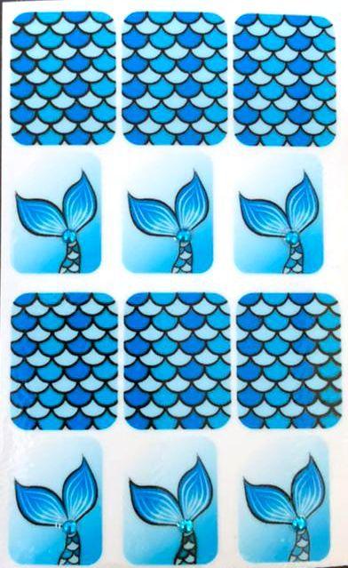 Adesivo de Unha Impressas com Joia Sereia - 12un
