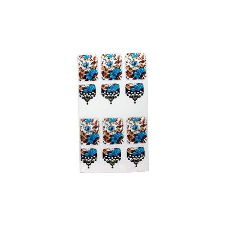 Adesivo de Unha Impressas com Joia  Arabesco com Flor Azul e Bege