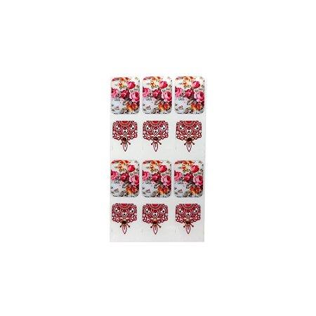 Adesivo de Unha Impressas com Joia Arabesco e Flores Vermelhas - 12un