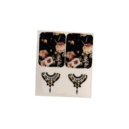 Adesivo de Unha Jóia Luxo Floral Preta 96 - 4un