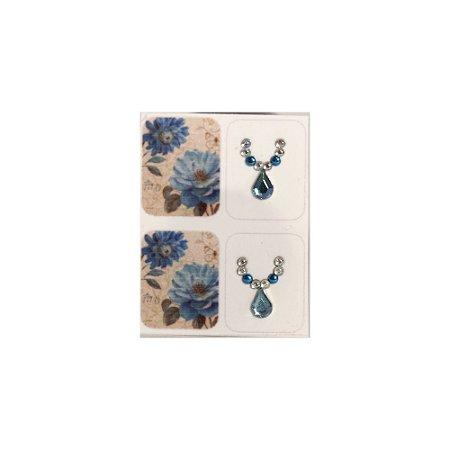 Adesivo de Unha Floral Azul 105