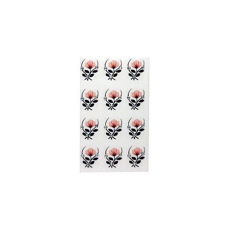 Adesivo de Unha Impressas com Joia Tulipa Rosê - 12un