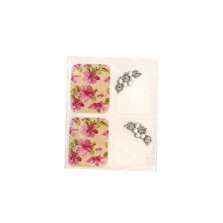Adesivo de Unha Jóia Luxo Flor Rosa 170