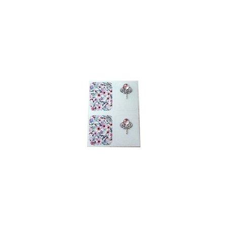 Adesivo de Unha Jóia Luxo Estampa Flores Rosa - 4un