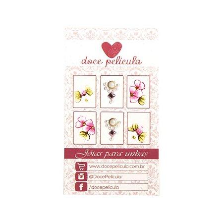 Adesivo de Unha Premium Flor Rosa e Margarida 98 - 6un