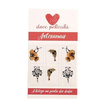 Adesivo de Unha Premium Flor Marrom e Arabesco 101 - 6un