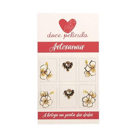 Adesivo de Unha Premium Flor Marrom 106 - 6un