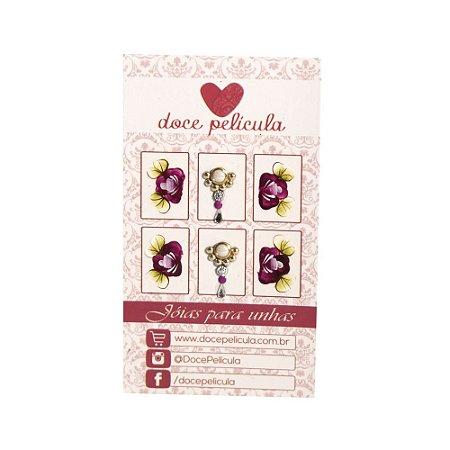 Adesivo de Unha Premium Flor Roxa 107 - 6un