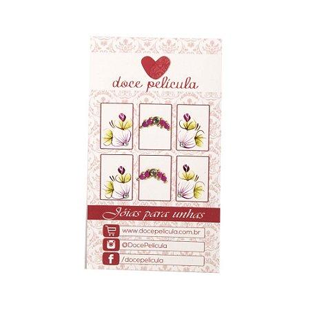 Adesivo de Unha Premium Flor Lilás 108 - 6un