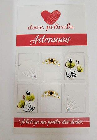 Adesivo de Unha Premium Flor Branca 117 - 6un