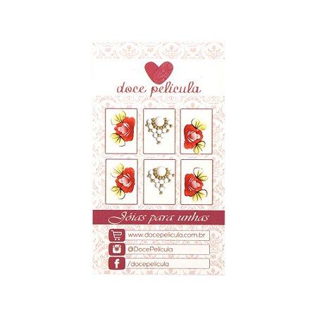 Adesivo de Unha Premium Flor Vermelha 119 - 6un