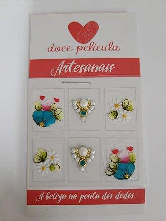 Adesivo de Unha Premium Flor Turquesa 120 - 6un