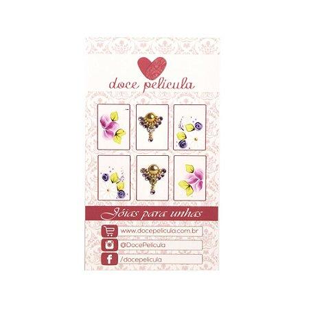 Adesivo de Unha Premium Flor Rosa e Margarida 125