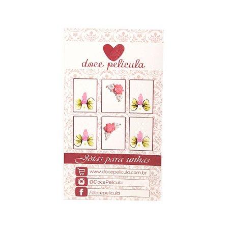 Adesivo de Unha Premium Flor Rosa 128