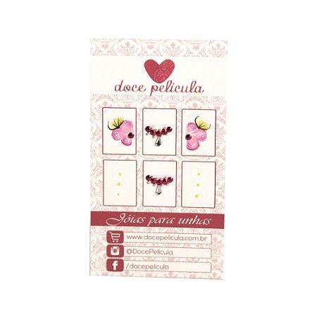 Adesivo de Unha Premium Flor Rosa e Florzinhas 135 - 6un