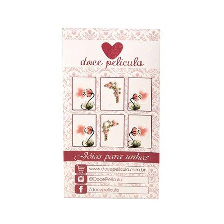 Adesivo de Unha Premium Flor Rosinha 138 - 6un