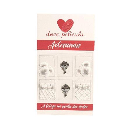 Adesivo de Unha Premium Flor Branca 142 - 6un
