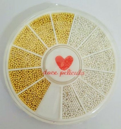 Disco de Pedrarias Caviar Prata e Dourado