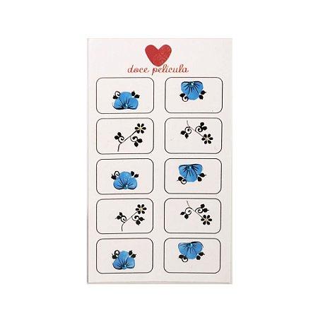 Adesivo de Unha Artesanal com 10 Flor Azul 04