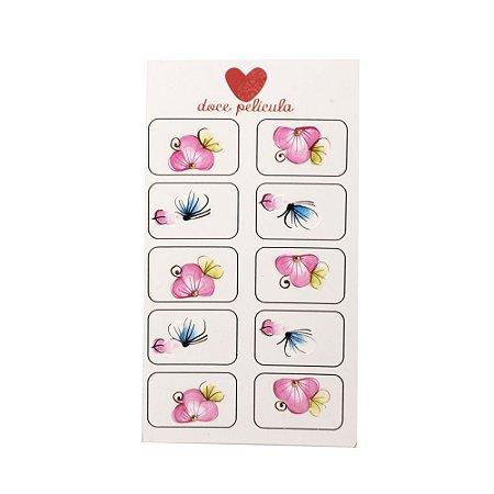 Adesivo de Unha Artesanal com 10 Flor Rosinha 08