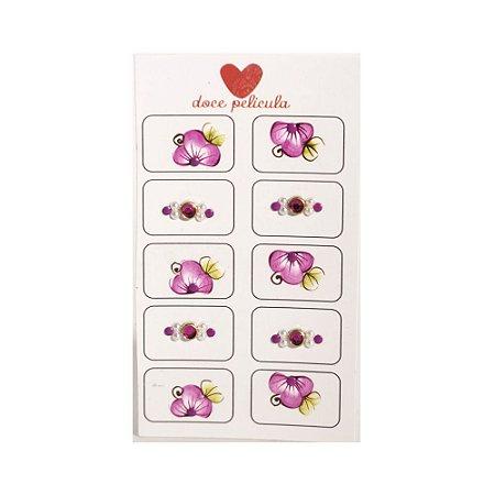 Adesivo de Unha Artesanal Jóia com 10 Flor Rosa 11
