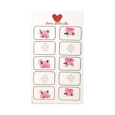 Adesivo de Unha Artesanal Jóia com 10 Flor 12