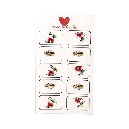 Adesivo de Unha Artesanal Jóia com 10 Flor 22