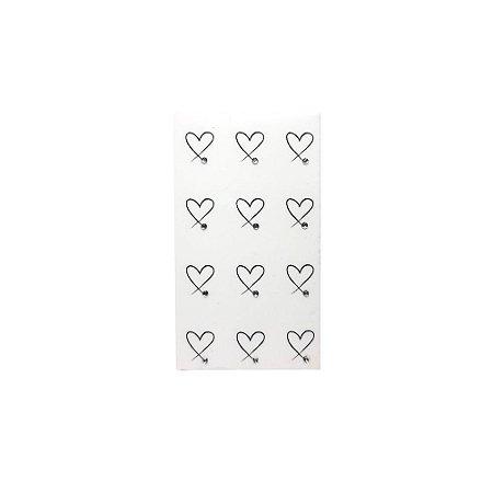 Adesivo de Unha Impressas com Joia Coração com Strass - 12un