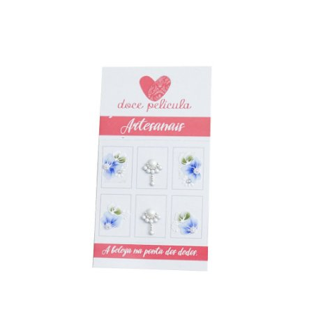 Adesivo de Unha Artesanal Florzinha 147 - 6un