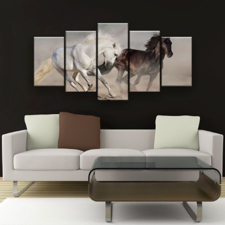 Quadro Decorativo Dois Cavalos Correndo 129x61cm Sala Quarto