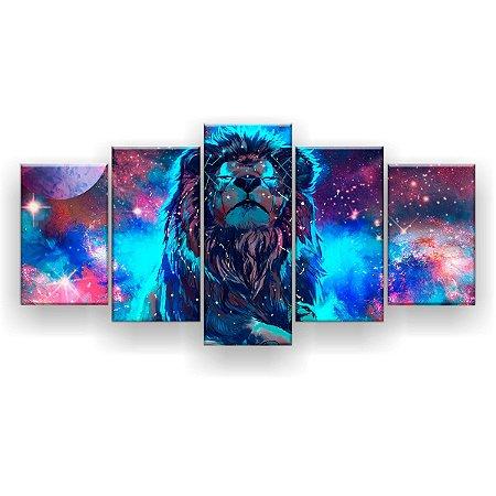 Quadro Decorativo Leão Do Universo 129x61cm Sala Quarto
