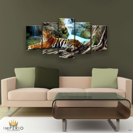 Quadro Decorativo Tigre Cachoeira 129x61cm Sala Quarto