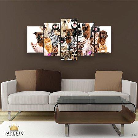 Quadro Decorativo Cães E Gatos Pets 129x61cm Sala Quarto