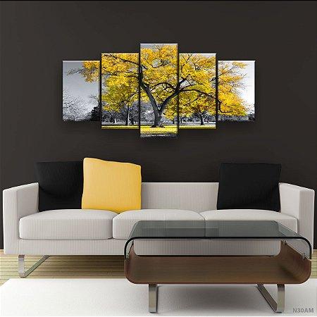 Quadro Decorativo Árvore Grande Amarela 129x61cm Sala Quarto