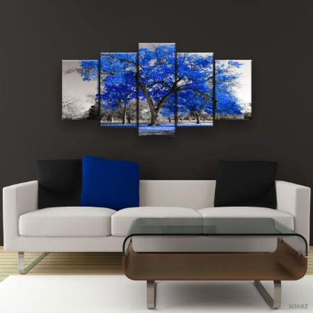 Quadro Decorativo Árvore Grande Azul 129x61cm Sala Quarto