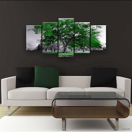 Quadro Decorativo Árvore Grande Verde Bandeira 129x61cm Sala Quarto